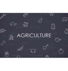 Agriculture Thin Line Icons vector