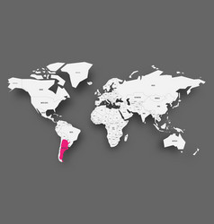 argentina pink highlighted in map of world light vector image
