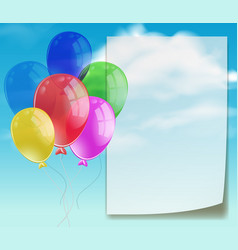 banner template with colorful balloons in blue sky vector image