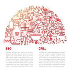 Bbq grill line template vector