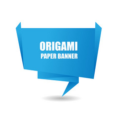 blue origami paper banner background vector image