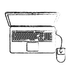 Blurred silhouette top view laptop computer with vector