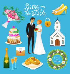 bride and groom wedding ceremony set newlyweds vector image