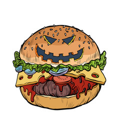 burger fast food with halloween pumpkin face vector image