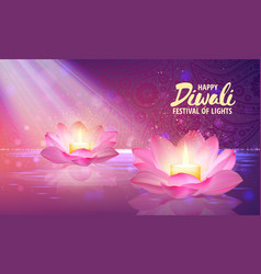 burning candle in lotus vector image