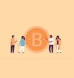 business man woman mining bitcoin crypto currency vector image