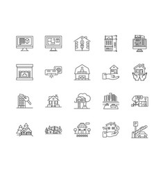 Buy houses line icons signs set outline vector