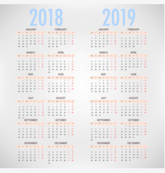 calendar for 2018 2019 on white background vector image
