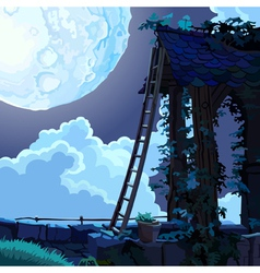 cartoon fairy house in the sky on a moonlit night vector image