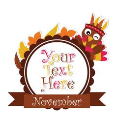Cartoon with cute turkey on maple leaves frame vector