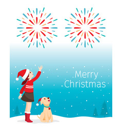 christmas children and dog happy with fireworks vector image