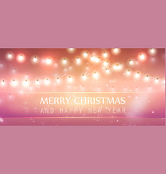 Christmas garland with light lamp and stars vector