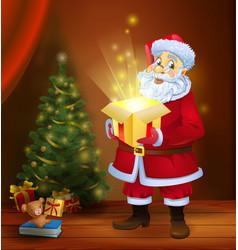 Christmas miracle - santa claus holding a box with vector
