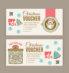 christmas voucher template santa inside badge vector image