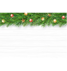 christmas with fir branch on white wooden vector image