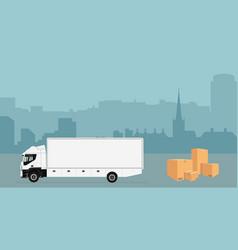 city skyline truck vector image
