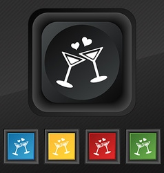 Cocktail in glass with hearts icon symbol Set of vector