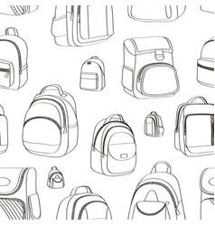Colored teenager school backpacks pattern vector