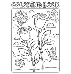 coloring book roses and butterflies vector image
