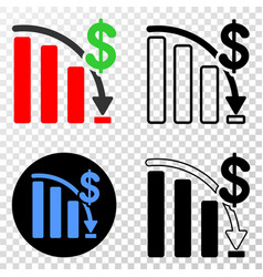 crisis bar chart eps icon with contour vector image