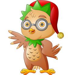 cute christmas owl in hat waving vector image