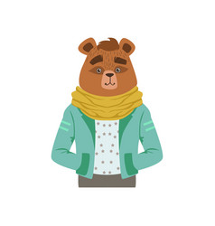 Cute fashion bear guy character hipster animal vector