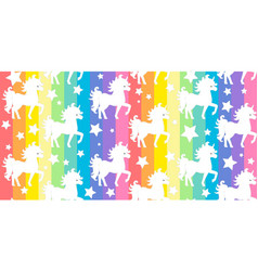 cute white unicorns silhouette on rainbow colorful vector image