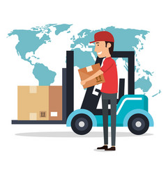 Delivery worker with forklift character vector