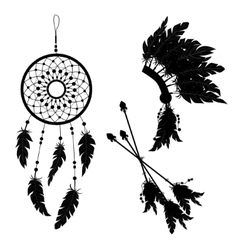 Dream catcher and Indian feather headdress Three vector