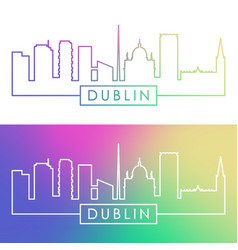 Dublin skyline colorful linear style editable vector