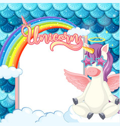 empty banner with cute pegasus cartoon character vector image
