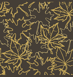 Fall maple leaf outlines pattern over dark vector