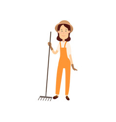 Farmer is going to cultivate the beds flat design vector