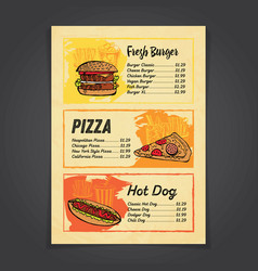 fastfood menu card with handrawn vector image
