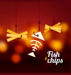 Fish and chips on red blurred background vector