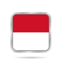Flag of monaco shiny metallic gray square button vector