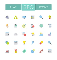 Flat SEO Icons vector image
