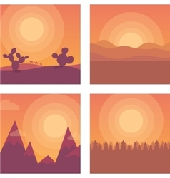 Flat sunset desert mountains and sea vector