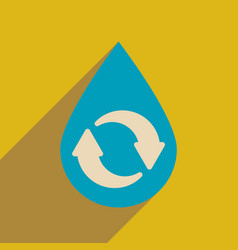 Flat web icon with long shadow drop recycling vector