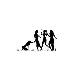 Four girl woman lady drinking drunk people vector