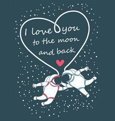 Funny spacemen love happy valentines day greeting vector