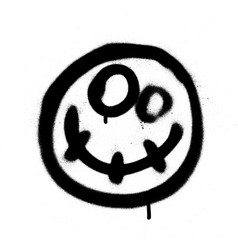 Graffiti scary happy emoji sprayed in black vector