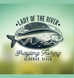 Grayling fly fishing logo the lady of the river vector
