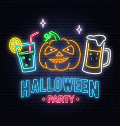 halloween party neon sign vector image