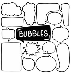 Hand drawn background set cute speech bubble vector