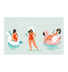 Hand drawn cartoon summer time fun beach vector