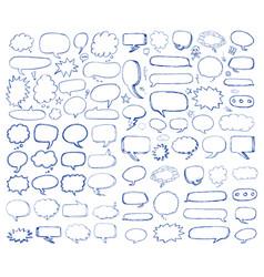 hand drawn speech bubbles comic cartoon doodles vector image