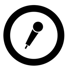 hand microphone icon black color in round circle vector image