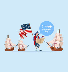 Happy columbus day ship america discovery holiday vector
