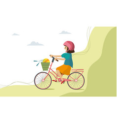 happy kid girl riding bike smile on nature vector image